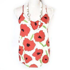 Hutch Poppy Print Silk Tank Top Blouse, S